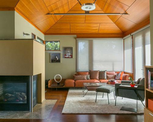 Trendy Open Concept Living Room Photo In San Francisco With Green Walls,  Dark Hardwood Floors Part 78