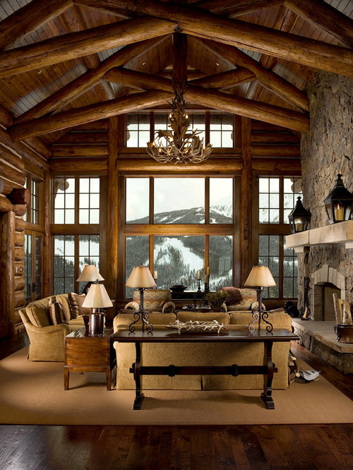 Attractive Traditional Dark Wood Floor Living Room Idea In Other With A Standard  Fireplace And A Stone