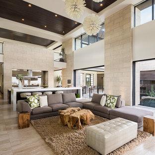 Diseño de salón abierto, actual, extra grande, con paredes blancas