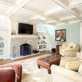 Example of a classic living room design in Chicago with a stone fireplace
