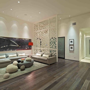 Inspiration for a contemporary open concept living room remodel in San Diego with white walls