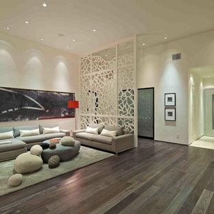 Offenes Modernes Wohnzimmer mit weißer Wandfarbe in San Diego