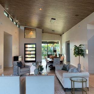 タンパの中くらいのミッドセンチュリースタイルのおしゃれなLDK (白い壁、トラバーチンの床、標準型暖炉、石材の暖炉まわり、白い床) の写真