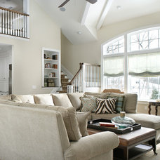 Transitional Living Room by Durso Construction Management