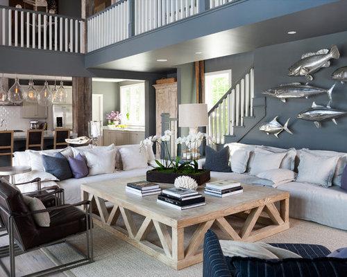 842 Fotos: Maritime Wohnzimmer Mit Blauen Wänden