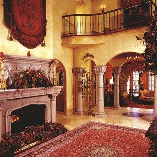 ニューヨークの大きいヴィクトリアン調のおしゃれなLDK (フォーマル、ベージュの壁、セラミックタイルの床、標準型暖炉、コンクリートの暖炉まわり、テレビなし) の写真