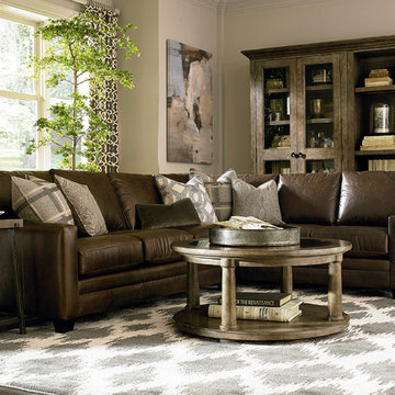 Custom Leather Ladson Sectional by Bassett Furniture