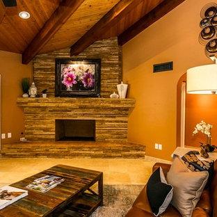 Custom Ledger Stone Fireplace by Idola Designs, LLC