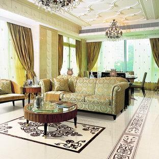 Foto di un ampio soggiorno chic chiuso con sala formale, pareti beige e pavimento in marmo