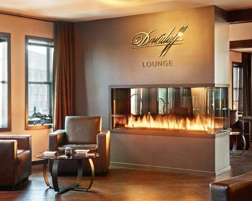 Custom Peninsula Fireplace Davidoff Cigar Lounge