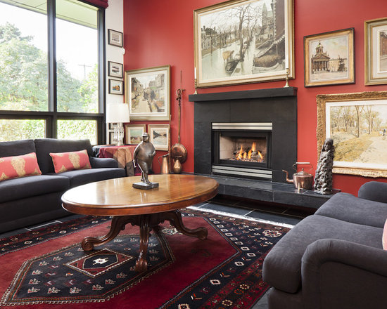 grey black red dining room | houzz