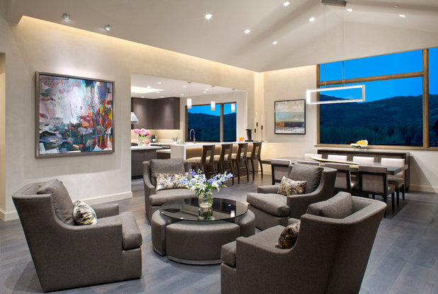 Contemporary Living Room by Alpenglow Lighting Design, Inc,