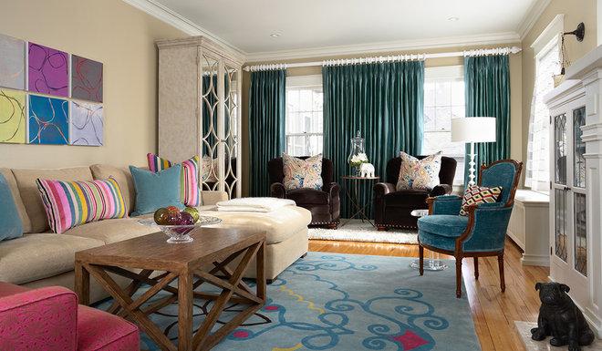 Contemporary Living Room Custom Rug designed for Lilu Interiors