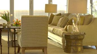 Custom sofa + armchairs; Thai rain drum side table