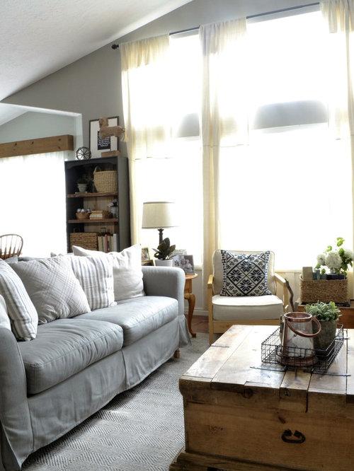Custom Sofa Slipcovers In Herringbone Cement Fabric