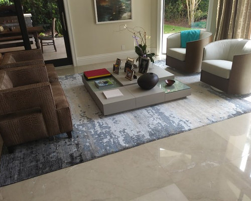 Foto e Idee per Living - living moderno con pavimento in marmo