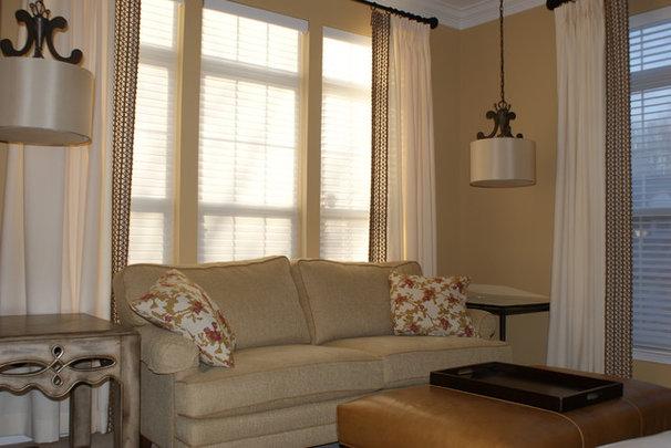 Traditional Living Room Custom Window Treatments and LIghting