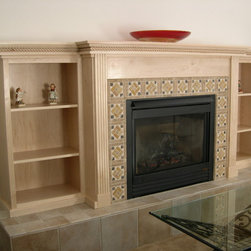 Custom Work - Custom fireplace surround (with shelves) and mantle in Blonde Maple.