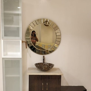 Customised Bronze coloured mirror for wash basin
