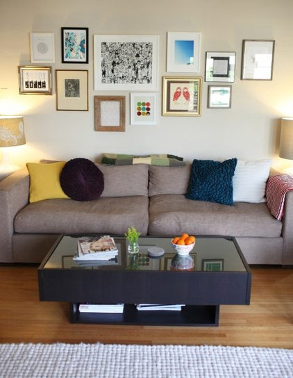 Eclectic Living Room cute art on wall