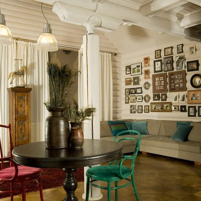 Inspiration for a farmhouse enclosed living room remodel in Moscow with no tv and white walls