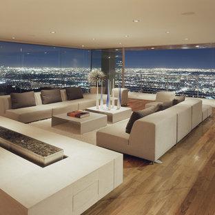 ロサンゼルスの巨大なモダンスタイルのおしゃれなリビング (両方向型暖炉、フォーマル、淡色無垢フローリング、コンクリートの暖炉まわり) の写真