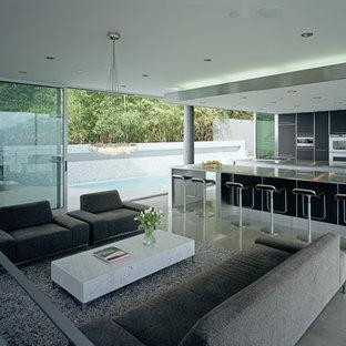 Esempio di un soggiorno minimalista aperto e di medie dimensioni con pavimento in marmo e angolo bar
