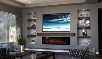 DAGR Design Media Wall _ Calm -TV above Linear Fireplace