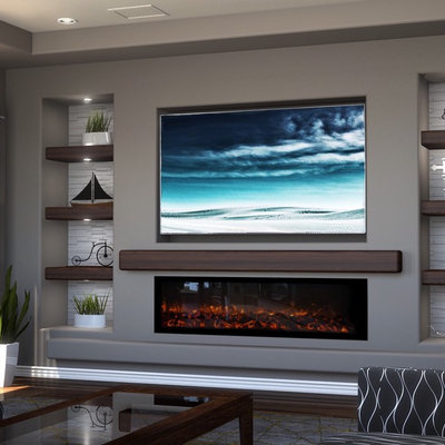 Mid-sized elegant open concept medium tone wood floor and brown floor living room photo in Phoenix with gray walls, a ribbon fireplace, a plaster fireplace and a media wall