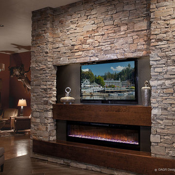 DAGR Design Media Wall -TV Above Horizontal Fireplace
