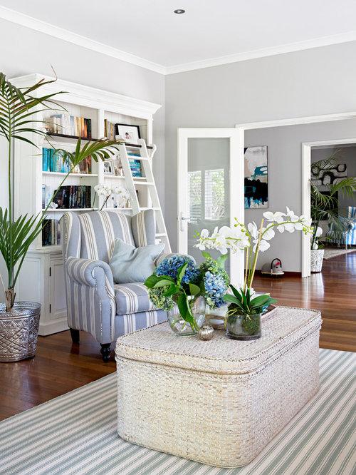 maritime wohnzimmer mit grauen wänden - ideen, design, bilder