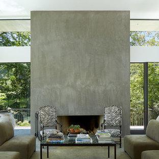 Immagine di un soggiorno design di medie dimensioni e aperto con sala formale, pareti bianche, pavimento in cemento, camino classico e cornice del camino in cemento