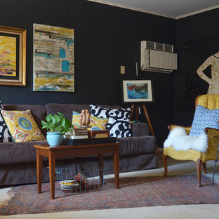 Eclectic carpeted living room photo in Dallas with blue walls