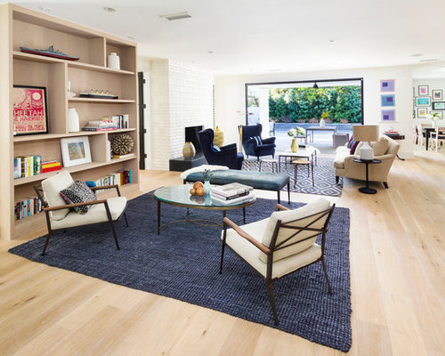 Transitional Beige Floor Living Room Idea In Los Angeles With White Walls