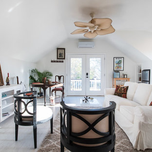 Mid-sized traditional formal enclosed living room in Charleston with white walls, porcelain floors and no tv.