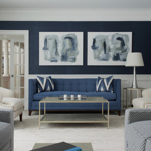 Inspiration for a transitional formal and enclosed carpeted living room remodel in New York with blue walls