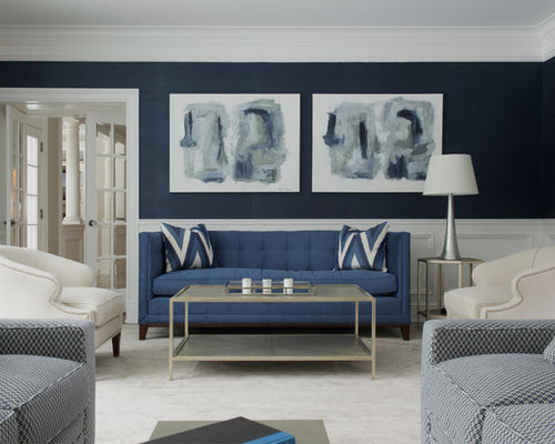 Inspiration For A Transitional Formal And Enclosed Carpeted Living Room  Remodel In New York With Blue