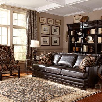 Dark Brown Leather Sofa with Nailhead Trim