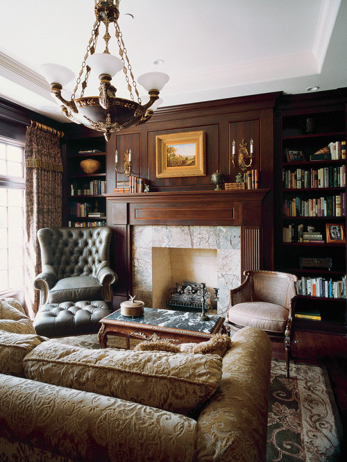 Example Of A Huge Ornate Enclosed Living Room Design In Chicago With Library