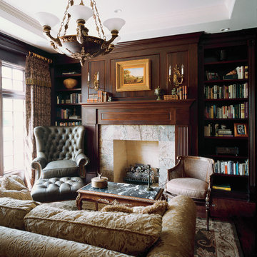 Dark Cherry Stained Library with Tray Ceiling and Stone Slab Surround Flush Fire