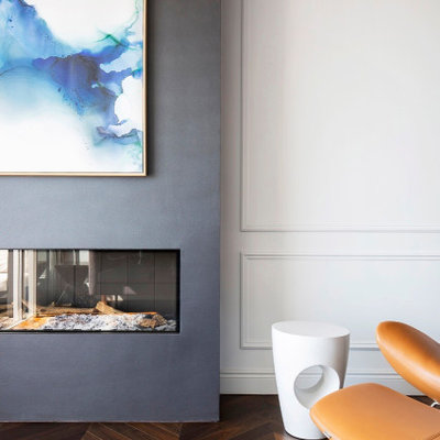 Inspiration for a contemporary open concept medium tone wood floor living room remodel in Sydney with blue walls