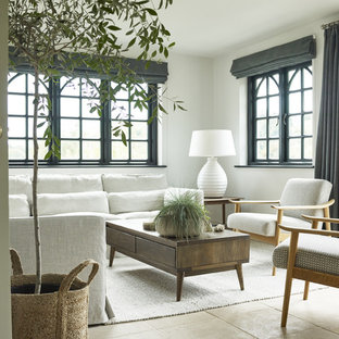 Beach style living room in London with grey walls, limestone flooring and beige floors.