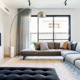 Photo of a contemporary living room in Perth with white walls and a ribbon fireplace.