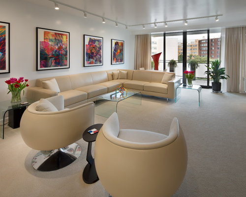 Midcentury Modern Carpeted And White Floor Living Room Photo In DC Metro  With White Walls