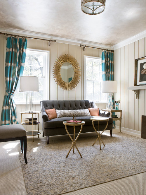 Example Of A Mid Sized Transitional Enclosed Carpeted And Brown Floor Living  Room Design In Part 74