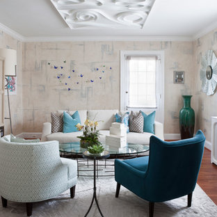 Mid-sized eclectic living room photo in DC Metro with multicolored walls, no fireplace and a concealed tv