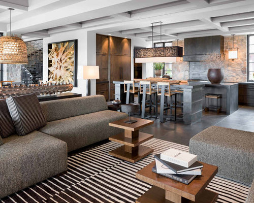 Example Of A Trendy Open Concept Gray Floor Living Room Design In Phoenix  With White Walls