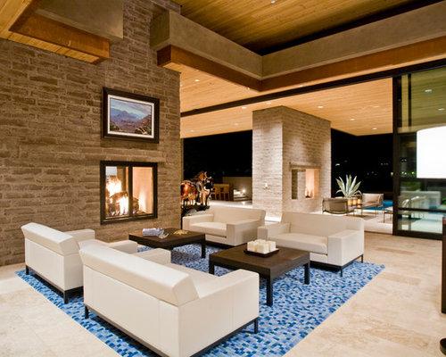 salon moderne avec un manteau de chemin e en brique photos et id es d co de salons. Black Bedroom Furniture Sets. Home Design Ideas