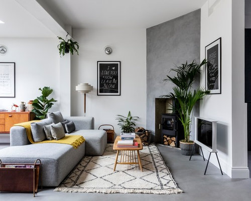 Photo Of A Medium Sized Scandinavian Open Plan Living Room In London With  White Walls,