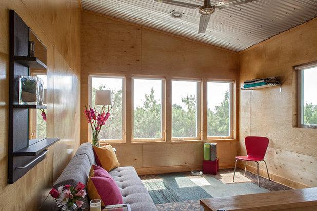 Industrial Living Room by Greene Design LLC